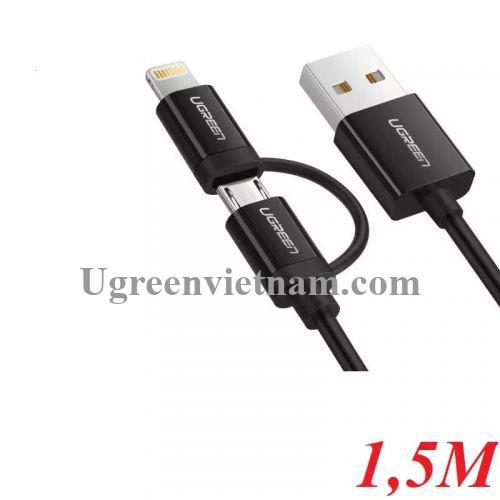 Ugreen 40941 1.5M màu Đen Cáp sạc đa năng USB sang MicroUSB + Lightning US178