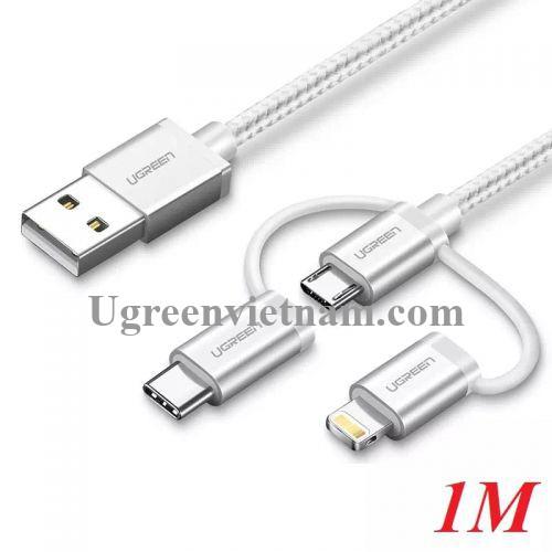 Ugreen 30461 1M màu Trắng Cáp sạc đa năng USB sang TypeC + Micro + Lightning US186