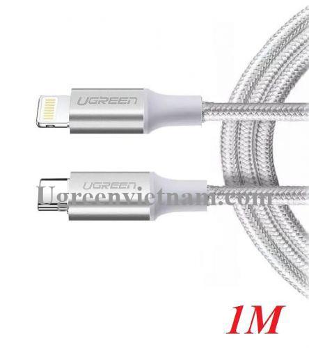 Ugreen 70523 1m cáp usb type c ra lightning 2.0 màu trắng US304 20070523