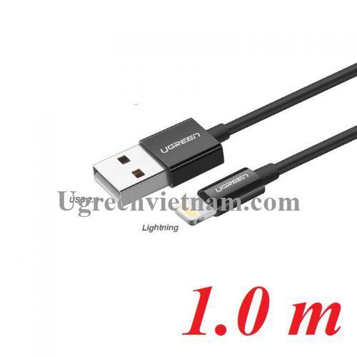 Ugreen 80822 1M màu đen cáp Lightning ra USB có chíp MFI chính hãng US155 20080822