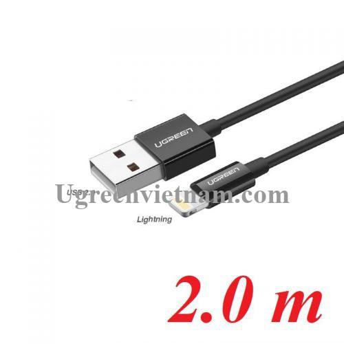 Ugreen 80823 2M màu đen cáp Lightning ra USB có chíp MFI chính hãng US155 20080823