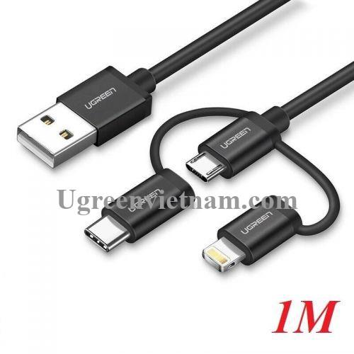 Ugreen 50205 1M Màu Đen Cáp sạc đa năng USB sang TypeC + Micro + Lightning có Chip MFI US186