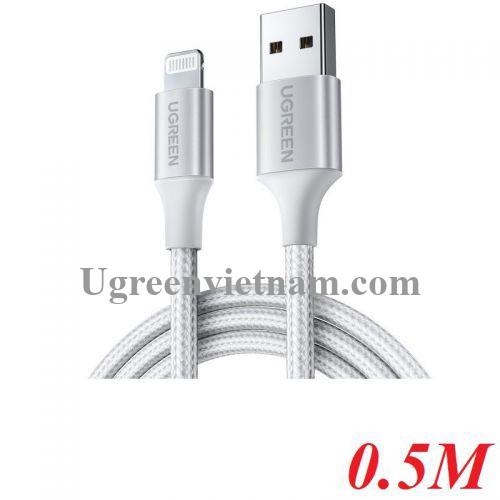Ugreen 60160 0.5M màu trắng cáp USB 2.0 A ra Lightning MFI đầu bọc nhôm mà nickel chống nhiễu 50cm US291 20060160