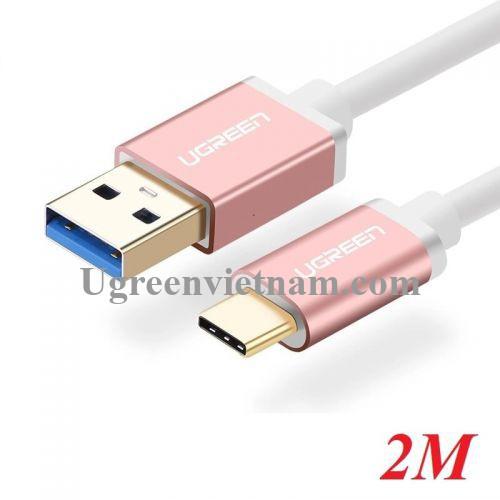 Ugreen 30540 2M màu Hồng Cáp USB TypeC sang USB 3.0 cao cấp US187 20030540