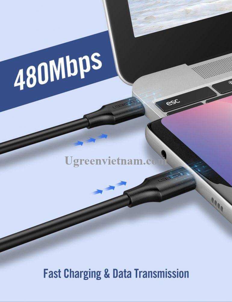 Ugreen 10306 2M màu đen USB type C 2.0 Cáp sạc và truyền dữ liệu từ máy tính ra điện thoại US286 20010306