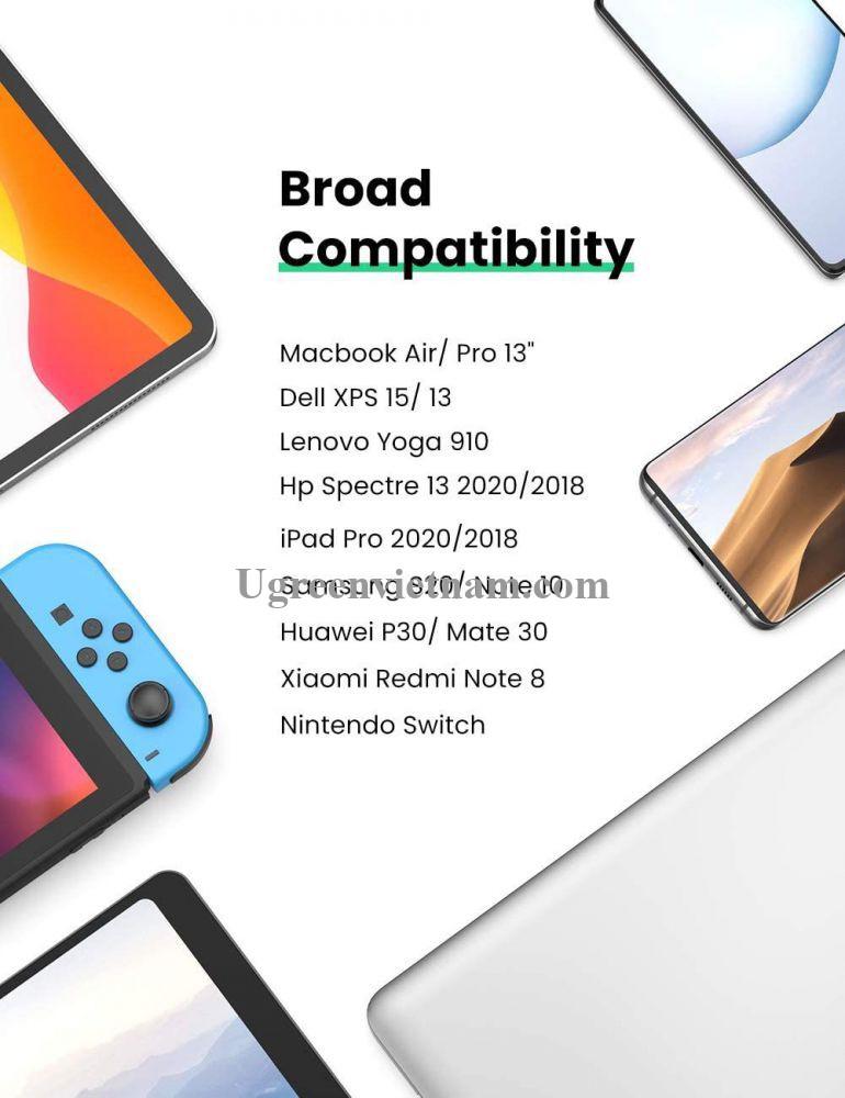 Ugreen 10975 1M màu đen USB type C Cáp sạc và truyền dữ liệu máy tính ra điện thoại US333 20010975