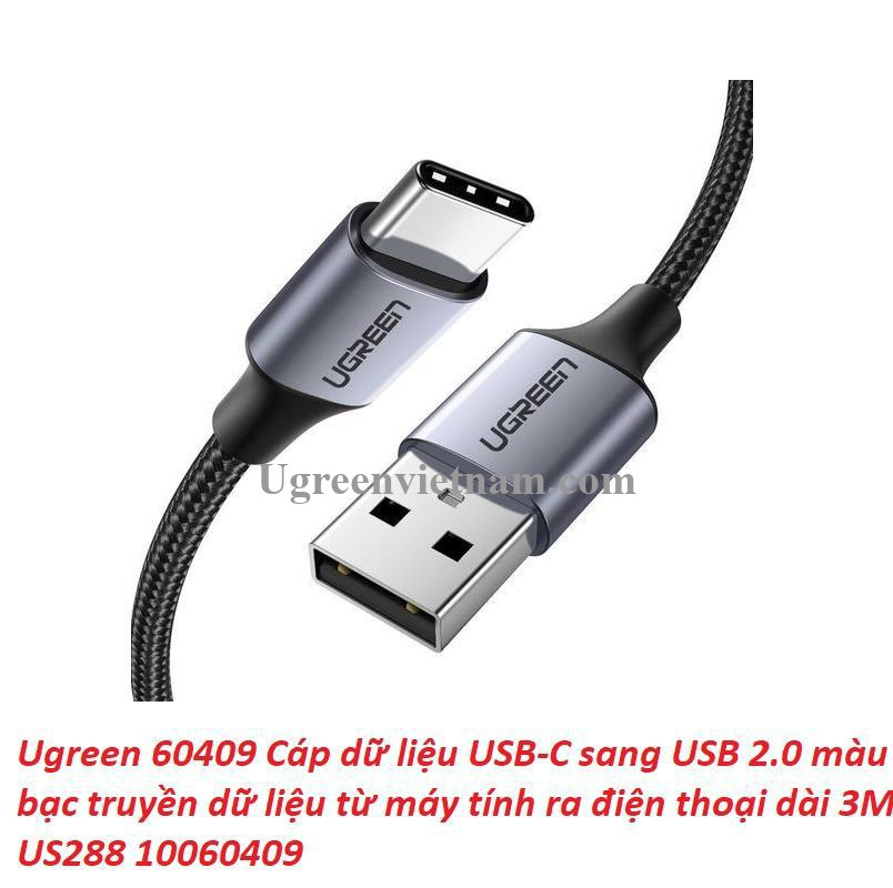 Ugreen 60409 3M Qc3.0 usb type c 2.0 Cáp sạc và dữ liệu từ máy tính ra điện thoại đầu nhôm xám US288 20060409