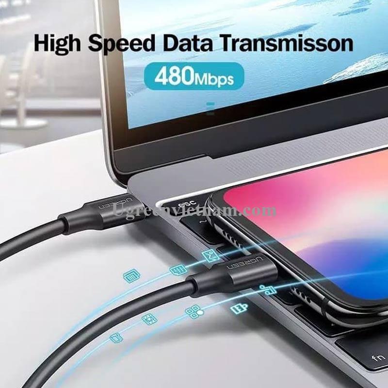 Ugreen 60788 3M 60W usb type C 2.0 cáp sạc và truyền dữ liệu màu đen từ máy tính ra điện thoại US286 20060788