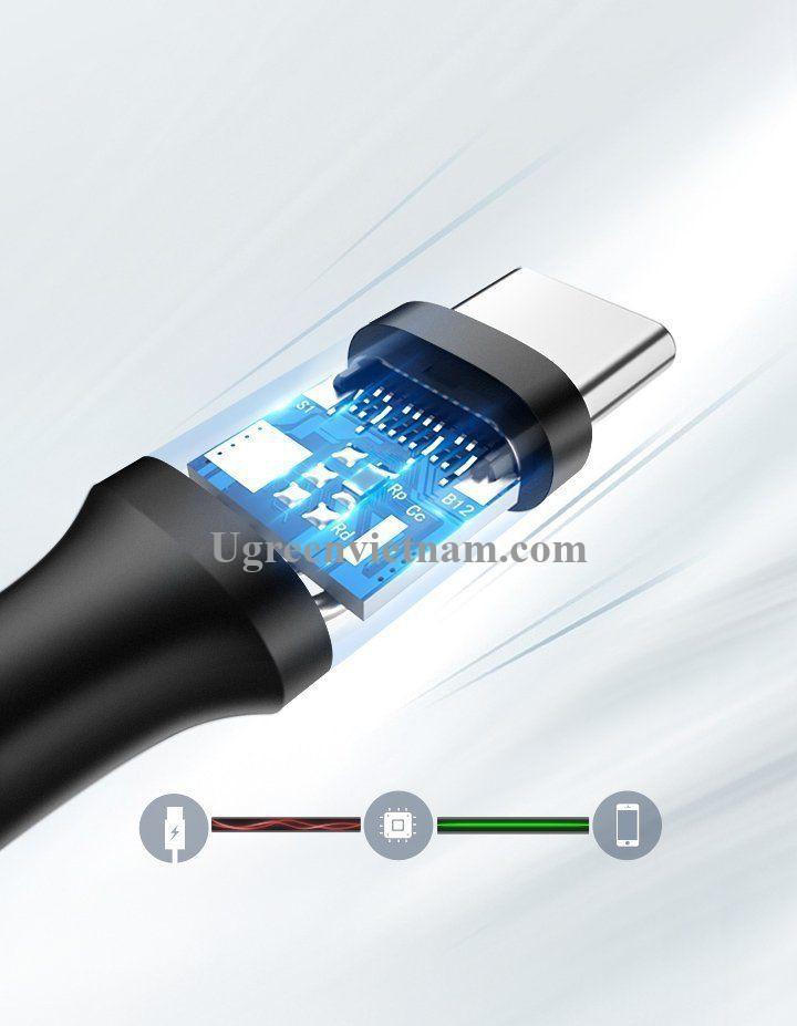 Ugreen 60826 3M USB A sang type c 2.0 màu đen cáp truyền dữ liệu từ máy tính ra điện thoại US287 20060826