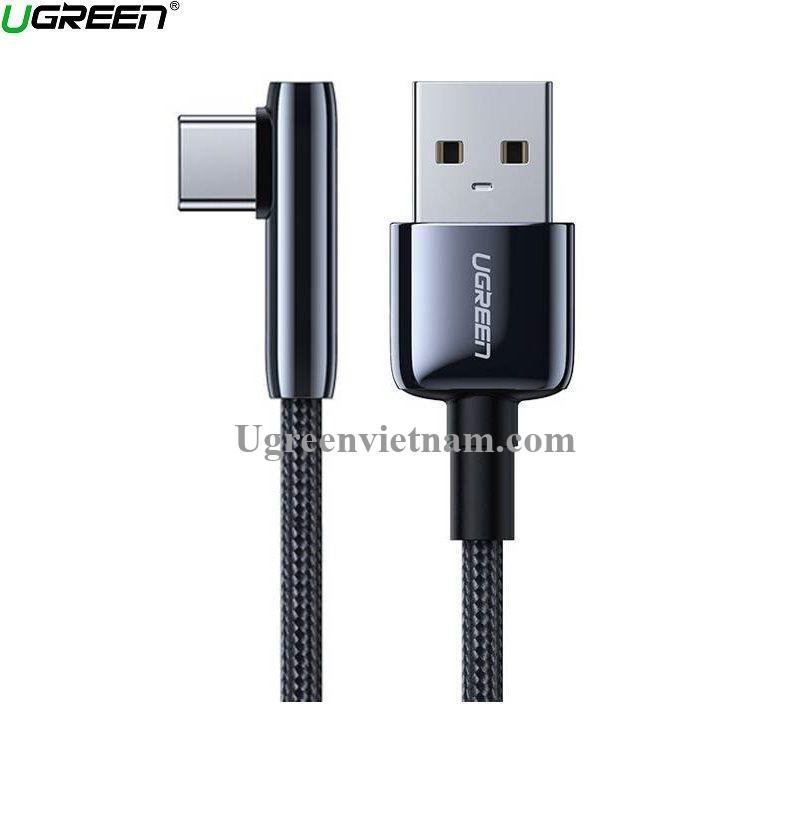 Ugreen 70430 0.25M bẻ góc C 90 độ Cáp USB A sang Type-C 2.0 màu đen truyền dữ liệu từ máy tính ra điện thoại dài 25cm US317 20070430