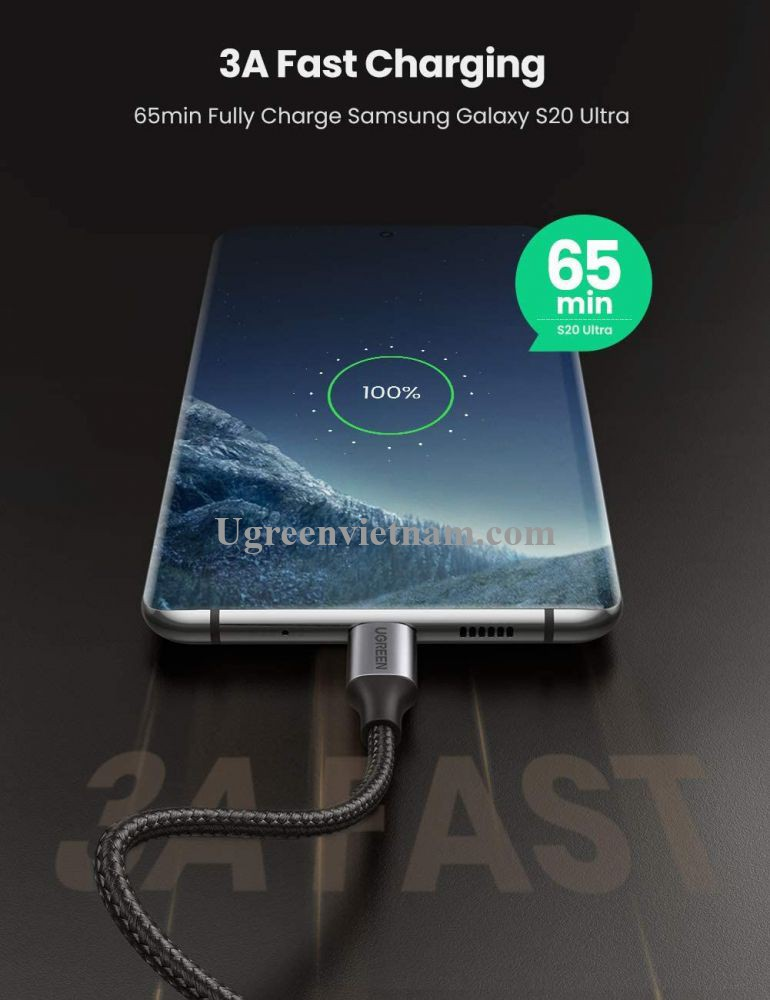 Ugreen 80714 3M bẻ góc C 90 độ màu xám cáp 2 đầu type c 2.0 sạc và truyền dữ liệu từ máy tính ra điện thoại US255 20080714