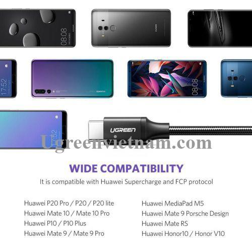 Ugreen 50995 2M 40W Cáp sạc và dữ liệu USB Type C màu đen truyền từ máy tính ra điện thoại US279 20050995