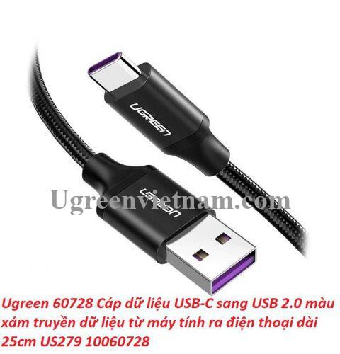Ugreen 60728 0.25M 5a qc3.0 USB A sang type C 2.0 màu đen cáp sạc và truyền dữ liệu từ máy tính ra điện thoại dài 25cm US279 20060728