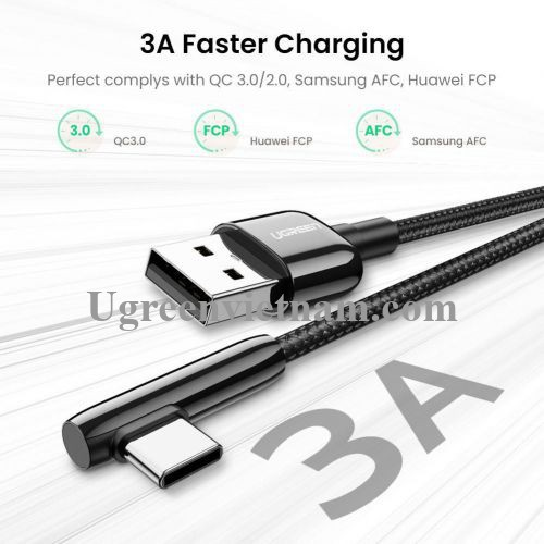 Ugreen 70413 1M bẻ góc C 90 độ màu đen cáp USB A ra type C 2.0 truyền dữ liệu từ máy tính ra điện thoại US313 20070413