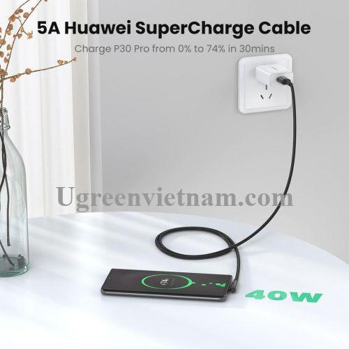 Ugreen 70431 50cm bẻ góc C 90 độ Cáp USB A sang Type-C 2.0 màu đen truyền dữ liệu từ máy tính ra điện thoại dài 0.5M US317 20070431