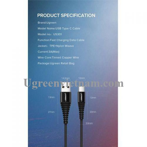 Ugreen 70560 50cm Cáp dữ liệu USB Type-C sang USB 2.0 màu đen truyền dữ liệu từ máy tính ra điện thoại dài 0.5M US301 20070560