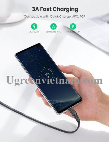 Ugreen 70637 2M màu đen Cáp sạc và truyền dữ liệu usb A sang type c 2.0 US332 20070637