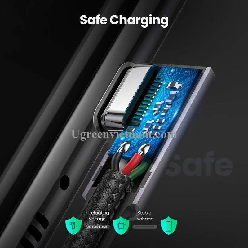 Ugreen 70528 0.5M PD 3A 20v 60W 2 đầu bẻ góc 90 độ cáp USB type C ra USB type C đầu nhôm mạ nickel chống nhiễu US323 20070528