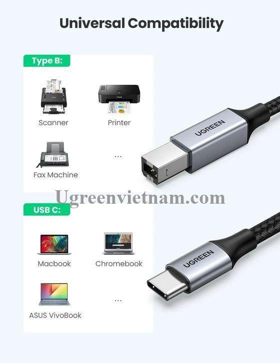 Ugreen 80808 3M màu xám đầu nhôm cáp USB type C ra usb B máy in dây dù US370 20080808