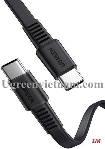 Ugreen 10974 0.5M 2.0 PD 3A 20V màu đen USB type C Cáp sạc và truyền dữ liệu máy tính ra điện thoại US333 20010974