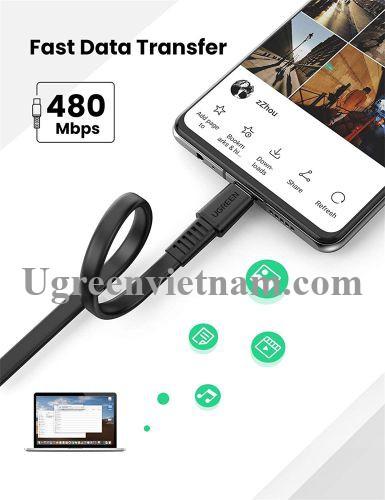 Ugreen 10976 2M 2.0 PD 20v 3A màu đen USB type C Cáp sạc và truyền dữ liệu máy tính ra điện thoại US333 20010976