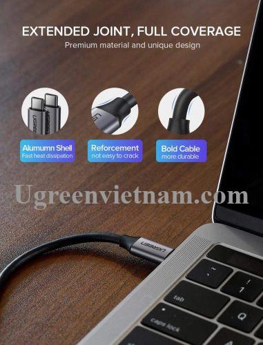 Ugreen 60183 1M Usb 3.1 60W màu xám Vỏ nhôm Mạ niken cáp 2 đầu Type C US161 20060183
