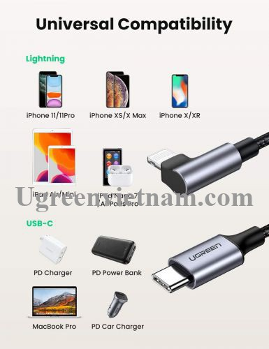 Ugreen 60765 2M PD 20V 3A bẻ 90 độ MFI đầu lightning cáp USB type C ra Lightning bọc nhôm chống nhiễu màu đen US305 20060765