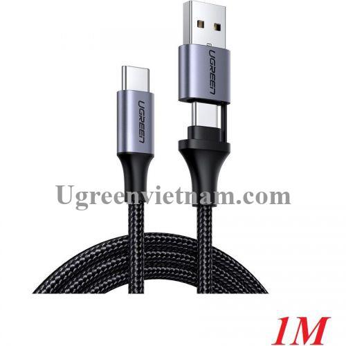 Ugreen 70416 1m qc3.0 Cáp sạc nhanh Type C ra USB C + A Màu đen US314 20070416