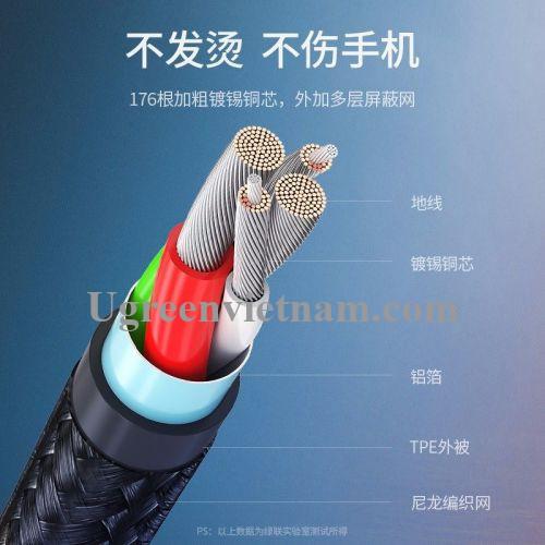 Ugreen 60569 1m QC4.0 3A cáp Usb A ra Type C dây dù siêu bền đầu nhôm chống gãy US301 20060569