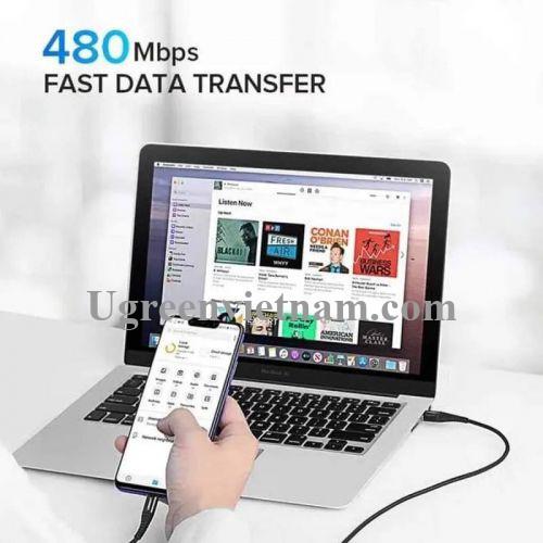 Ugreen 60570 2m QC4.0 3A cáp USB A ra Type C dây dù siêu bền đầu nhôm chống gãy US301 20060570