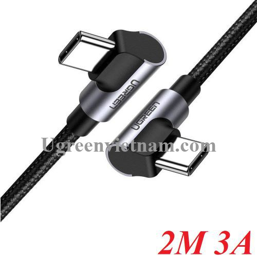 Ugreen 70882 2M 3A 2 đầu bẻ góc phải 90 độ cáp USB type C ra C đầu nhôm chống nhiễu US323 20070882