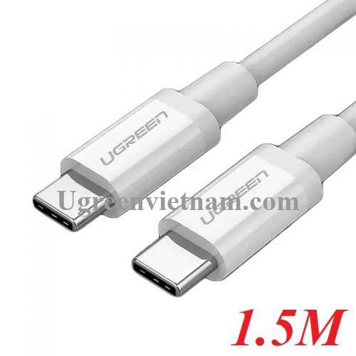 Ugreen 60519 1.5M màu trắng Dây USB Type-C sang USB Type-C US264