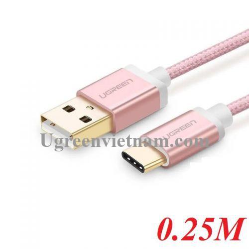 Ugreen 30506 0.25M màu Hồng Trắng Bộ chuyển đổi USB 2.0 sang USB-C  US188