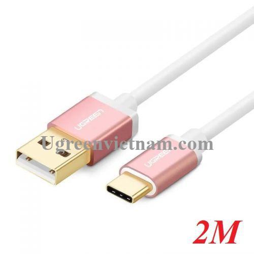 Ugreen 30510 2M màu Hồng Bộ chuyển đổi USB 2.0 sang USB-C US188