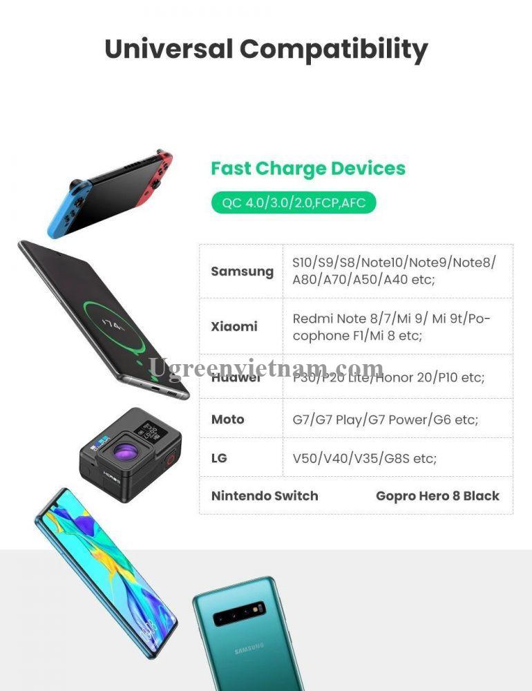Ugreen 50878 3M màu đen bao có 2 sợi cáp USB TYPE C ra A hỗ trợ sạc nhanh mạ vàng 24K US174 20050878