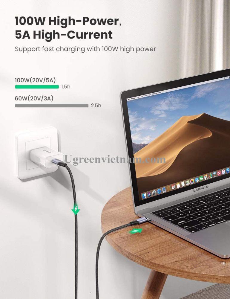 Ugreen 80150 1M 100W 5A màu đen sạc siêu nhanh hỗ trợ PD cáp USB type C 3.1 gen2 chống nhiễu US355 20080150