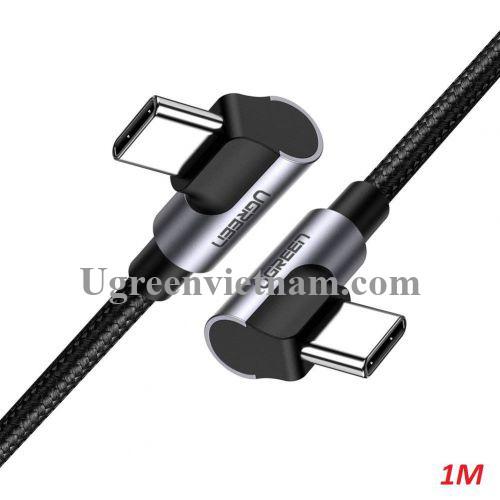 Ugreen 70529 1M 3A 60W 2 đầu bẻ góc phải 90 độ cáp USB type C ra C đầu nhôm mạ nickel chống nhiễu US323 20070529