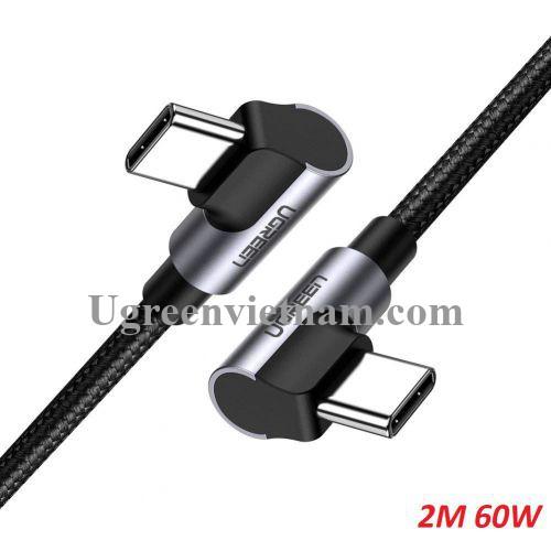 Ugreen 70531 2M 3A 60W 2 đầu bẻ góc phải 90 độ cáp USB type C ra C đầu nhôm mạ nickel chống nhiễu US323 20070531