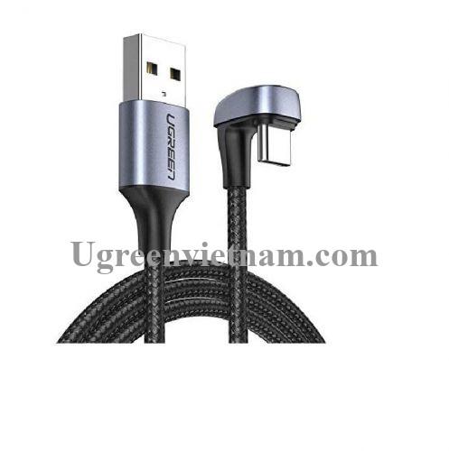 Ugreen 70315 2M bẻ chữ U màu đen cáp USB type C sạc nhanh đầu bọc nhôm chống nhiễu US311 20070315