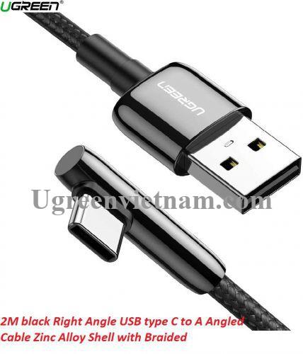 Ugreen 70415 2M màu đen cáp USB type C bẻ góc phải 90 độ ra usb A chống nhiễu US313 20070415