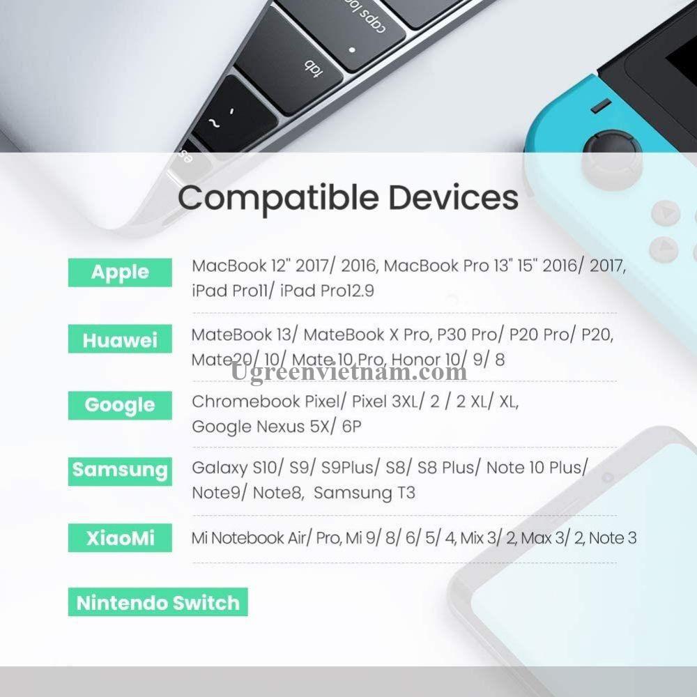Ugreen 10230 1 sợi 1M và 1 sợi 2M hỗ trợ sạc nhanh pd 100w màu xám đen cáp USB type C đầu nhôm chống nhiễu 10230 20010230