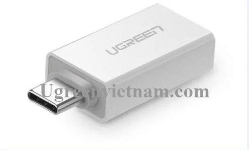 Ugreen 30155 Màu Trắng Đầu chuyển đổi TYPE C sang USB 3.0 vỏ nhựa ABS US173