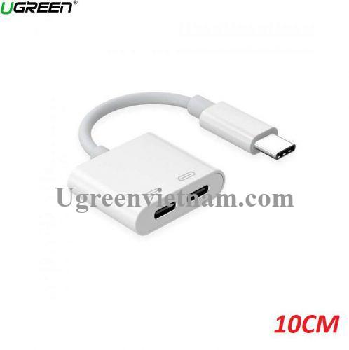 Ugreen 50595 10cm 2 cổng USB TYPE C bộ chia Hub màu trắng dài 0.1M CM193 20050595