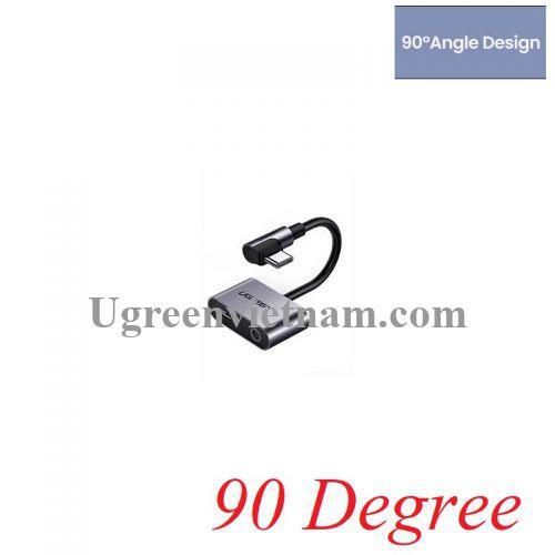 Ugreen 60715 7cm bẻ góc 90 độ USB type C ra 3.5mm Bộ chuyển đổi có chipset hỗ trợ cổng nguồn CM193 20060715