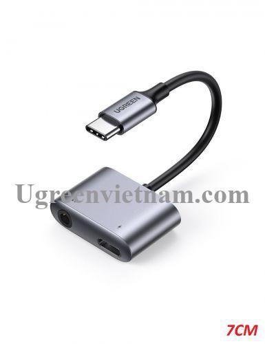 Ugreen 60164 7cm usb type c sang 3.5mm Bộ chuyển đổi có chipset hỗ trợ nguồn PD CM231 20060164