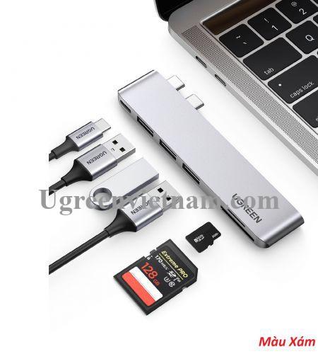 Ugreen 60560 macbook pro air 2 cổng USB Type C Bộ chuyển đổi sang 3x Hub USB 3.0 + SD/TF + nguồn PD màu xám bằng nhôm CM251 20060560