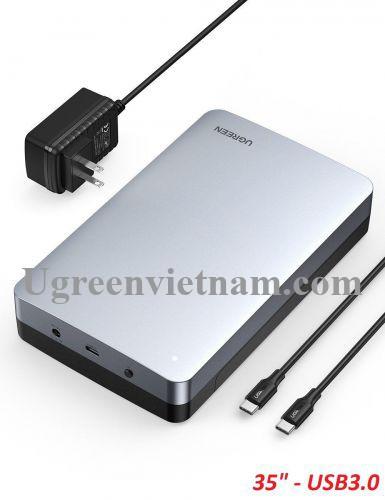 Ugreen 70797 usb type c 3.1 gen2 3.5inch hộp ổ cứng sata kết nối với máy tính kèm dây cáp 2 đầu C CM301 20070797