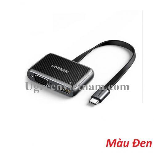 Ugreen 70549 cáp dẹp chống gãy usb type C Đầu chuyển đổi ra HDMI + VGA CM303 20070549