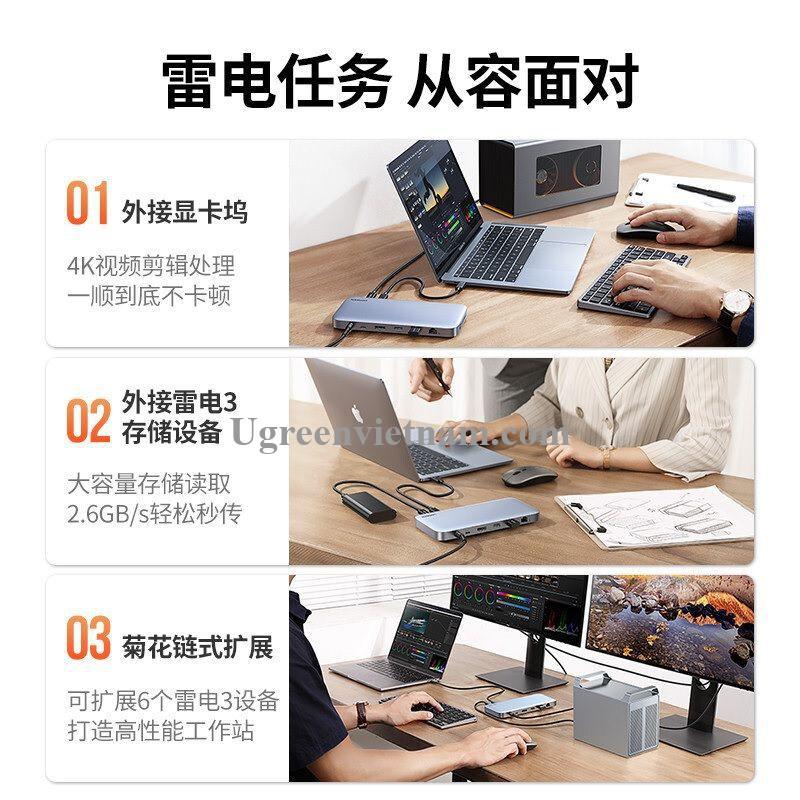 Ugreen 80547 8K 60Hz + 2 cổng Thunderbolt 3 + displayport + 3.5mm + 2 * USB A 3.1 + USB 3.0 + RJ45 Gigabit + SD / TF + usb type c 3.1 + Cổng 120W DC Docking USB bộ chuyển đổi Usb type c màu xám CM355 20080547