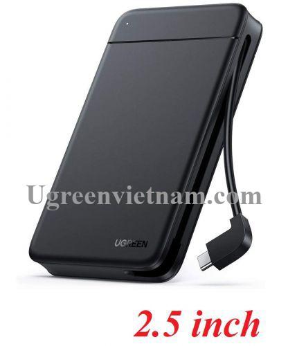 Ugreen 10904 tích hợp cáp Type C hỗ trợ 10TB Hộp đựng ổ cứng 2.5 inch CM352 20010904